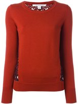 Diane von Furstenberg floral lace panel sweater