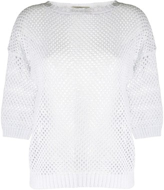 D-Exterior Knitted Net Jumper