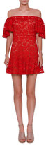 Valentino Lace Off-the-Shoulder Mini Dress, Metallic Red