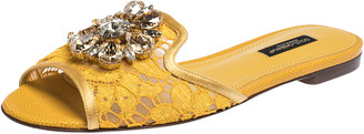 Dolce & Gabbana Yellow Lace Jeweled Embellishment Flat Slides Size 38.5