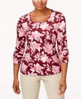 Karen Scott Print Long-Sleeve T-Shirt, Only at Macy's