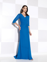 Mon Cheri Cameron Blake - V Neck Quarter Length Sleeves Ruched Long Dress 115611