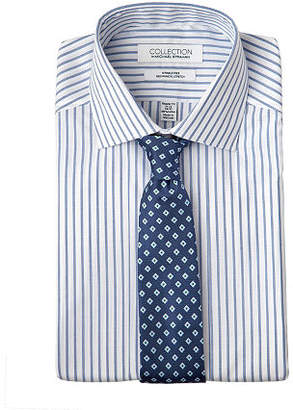 Collection by Michael Strahan Mens Spread Collar Long Sleeve Wrinke Free Stretch Fitted Dress Shirt