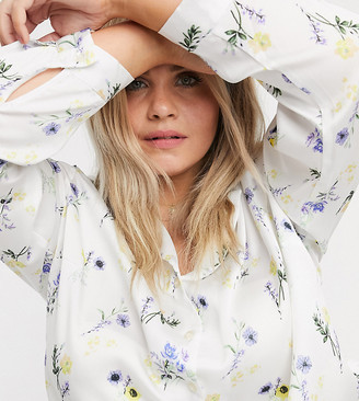 ASOS DESIGN Curve long sleeve relaxed satin shirt in floral print