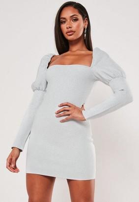 Missguided Premium Silver Metallic Square Neck Bandage Mini Dress