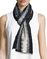 Eileen Fisher Shibori Tracks Silk Scarf, Black