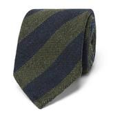 Thom Sweeney - 7.5cm Striped Wool And Silk-blend Tie - Green
