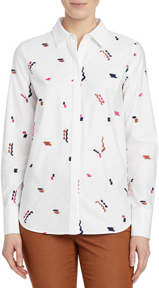 Lafayette 148 New York Scottie Embroidered Cotton Poplin Utility Shirt