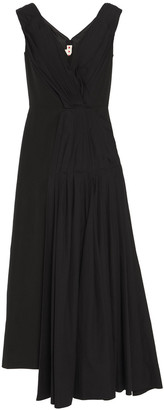 Marni Asymmetric Pleated Cotton-paneled Ramie-blend Maxi Dress