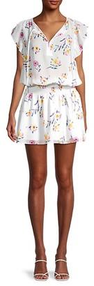 Parker Spotted Flutter-Sleeve Smock Dress