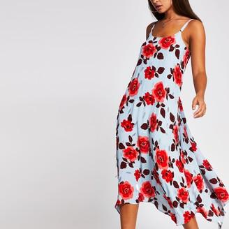 River Island Womens Blue sleeveless rose embellished slip dress