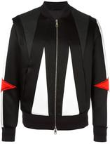 Neil Barrett geometric panelled bomber jacket - men - Silk/Cotton/Polyamide/Viscose - M