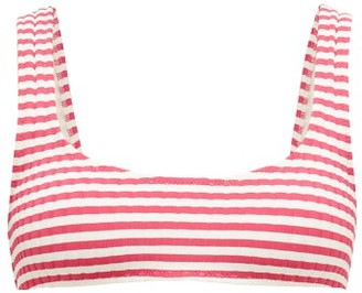 Solid & Striped The Elle Striped Ribbed Bikini Top - Womens - Pink Stripe