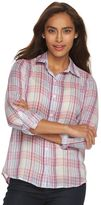 Caribbean Joe Women's Plaid Roll-Tab Shirt