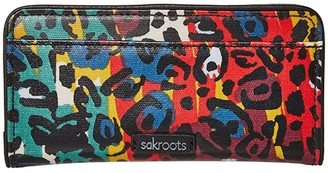 Sakroots Artist Circle Slim Wallet (Multi Spotted Wildlife) Wallet Handbags