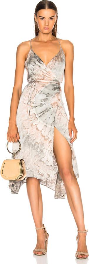 Enza Costa Viscose Sateen Strappy Wrap Dress