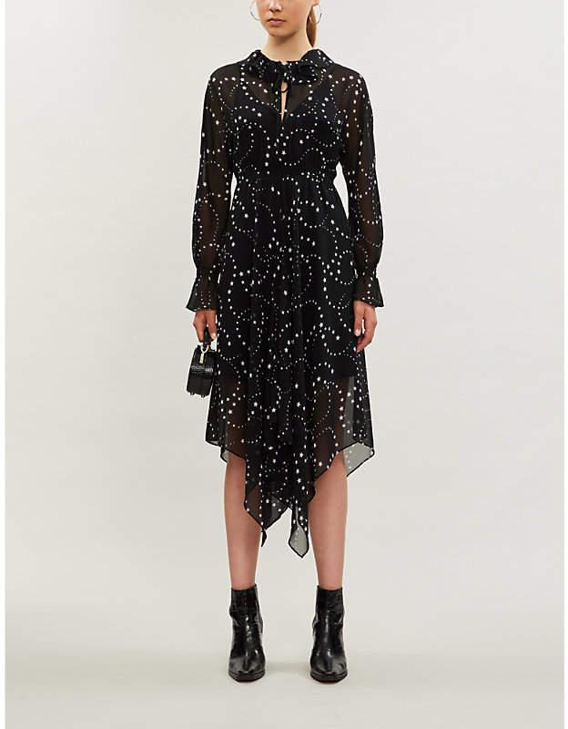 Maje Asymmetric-hem floral-print chiffon dress