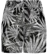Yours Clothing YoursClothing Plus Size Womens Ladies Bottoms Palm Print Shorts Ruched Waist