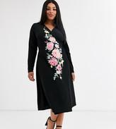 Asos DESIGN Curve long sleeve embroidered wrap midi dress