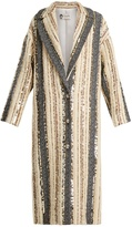 Lanvin Sequin-embellished striped wool-blend coat