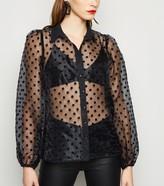 New Look Spot Organza Puff Sleeve Shirt
