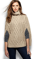 Lands' End Women's Cashmere Cable Turtleneck Cape Sweater-Ivory