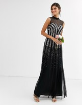 Maya Bridesmaid embellished maxi dress with sweetheart plunge neckline in black