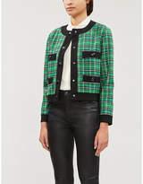 Maje Vivert tartan contrasting-trim woven blazer