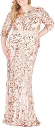 Mac Duggal Plus Size Bateau-Neck 3/4-Sleeve Sequin Column Gown