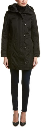 Kensie Women's Bonded Stadium Coat with Knit Collar and Hood