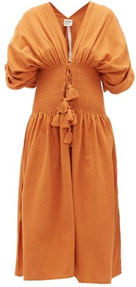 Escvdo - Sara Ruched Cotton Dress - Tan