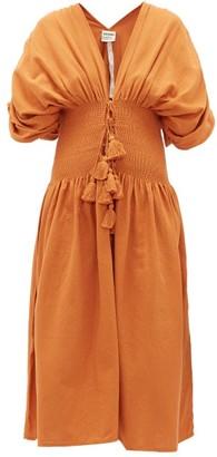 ESCVDO Sara Ruched Cotton Dress - Tan