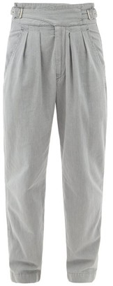 Isabel Marant Ogeny Buckle-waist Pleated Cotton Trousers - Grey
