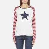 Maison Scotch Women's Long Sleeve Baseball TShirt with Cool Artworks - White