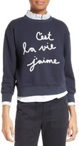 Rebecca Taylor Women's Logo Embroidered French Terry Pullover