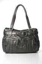 Cole Haan Gray Leather Metallic Banded Pocket Front Large Shoulder Handbag