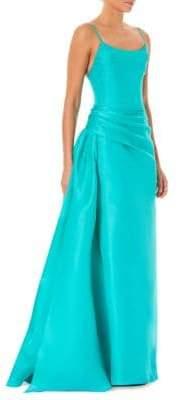Carolina Herrera Women's Side-Bustle Ballgown - Turquoise - Size 10