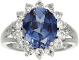 FINE JEWELRY Lab-Created Blue and White Sapphire Sterling Silver Starburst Ring
