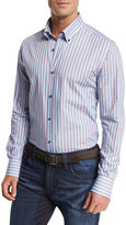 Neiman Marcus Striped Sport Shirt, Blue/Multicolor