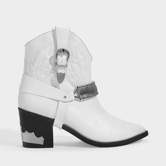 Toga Pulla Western Ankle Boots In White Leather
