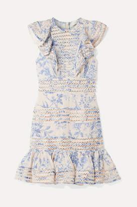 Zimmermann Verity Lace-trimmed Floral-print Fil Coupe Cotton Mini Dress - Blue