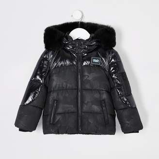 River Island Mini boys Black camo puffer jacket