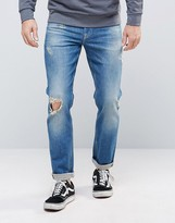 Asos Stretch Slim Jeans With Rips In Tinted Mid Wash