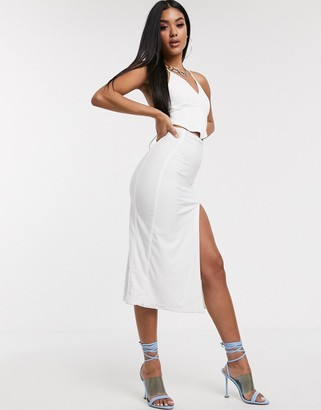 Aym Studio AYM Premium midaxi skirt with high thigh split in white