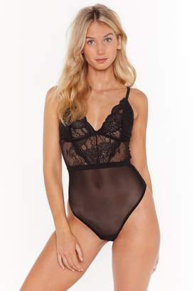 Nasty Gal Womens Let's Lace It Mesh Bodysuit - black - 12