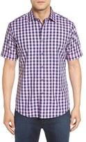 Bugatchi Shaped Fit Gingham Short Sleeve Sport Shirt