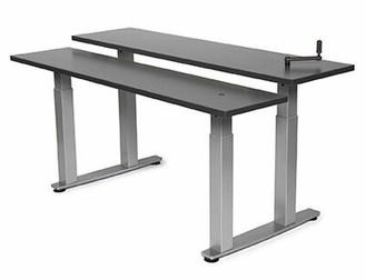 "Equity Bi-Level Height Adjustable Computer Table Populas Furniture Size: 38"" H x 48"" W x 30"" D, Tabletop Finish: Urban Walnut"