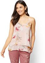New York & Co. Tiered V-Neck Halter Blouse - Floral