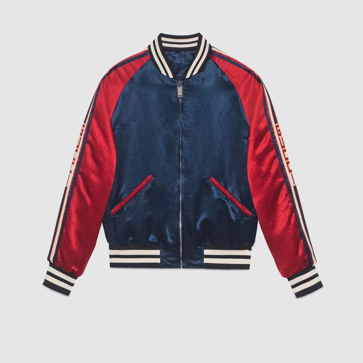 Gucci stripe reversible acetate bomber