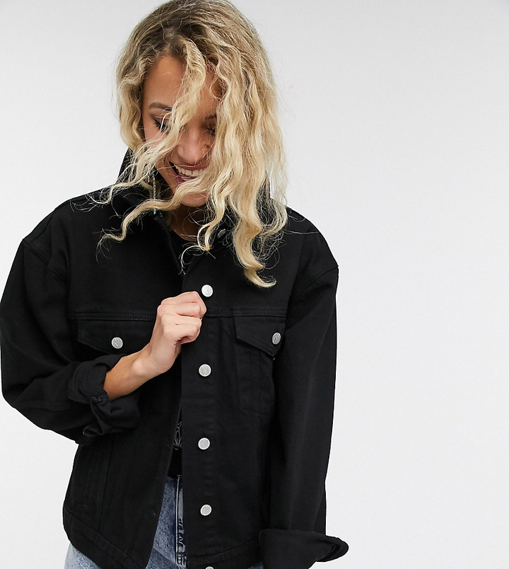 Reclaimed Vintage inspired oversized denim jacket in black